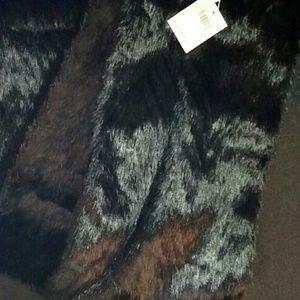 Calvin Klein black faux fur infinity scarf